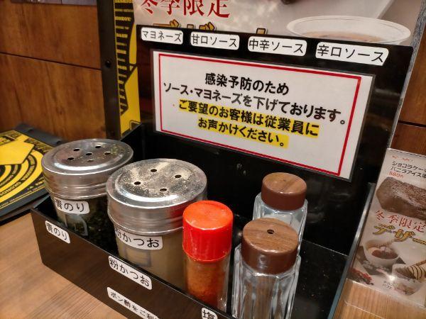 きん太八尾店のコロナ対策ソース